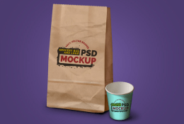 Grocery Bag, Coffee Cup & Logo Mockup