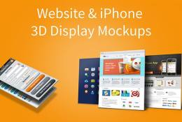 Web Sitesi ve iPhone 5 3D Ekran Mockups
