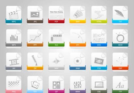 24 Adet Renkli Dosya İkon Seti