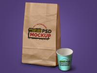 Grocery Bag, Coffee Cup & Logo Mockup